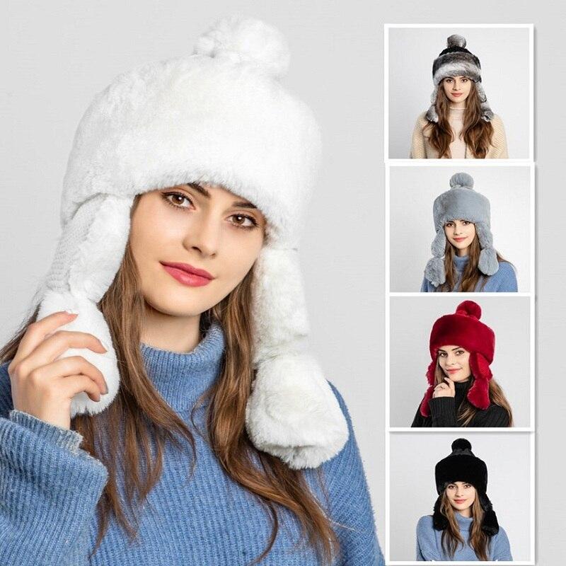 Rabbit Fur And Knit Hat Snow Warm Winter Hat For Woman Earmuffs Plus Velvet Girl 's Cap Princess Hat Brand New Thick Female Cap