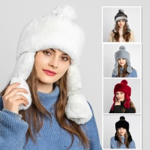 Rabbit fur and knit hat snow warm winter for woman earmuffs plus velvet girl s cap princess brand new thick female