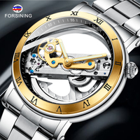 FORSINING New Men Automatic Mechanical Watches Top Brand Luxury Stainless Steel Watch Skeleton Transparent Sport male WristWatch