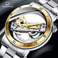 Nuevo reloj mecánico automático FORSINING para hombres, reloj de acero inoxidable de lujo de primera marca, reloj de pulsera deportivo transparente para hombre