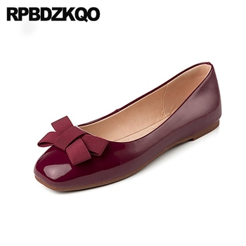 slip on bow red wine shoes size 35 designer ladies china soft ballet flats women square toe ballerina patent leather fashion