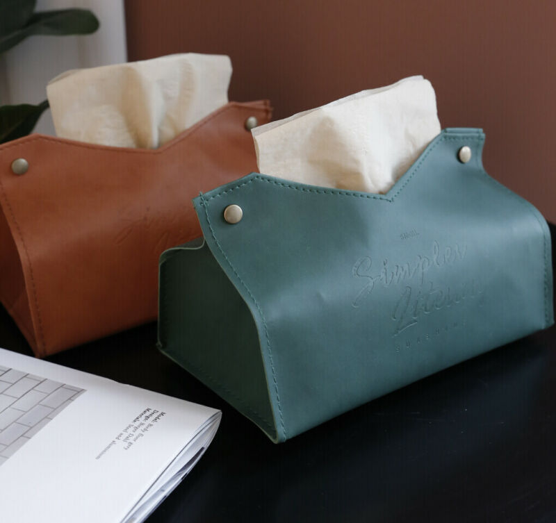 1pc Bathroom Car PU Leather Tissue Box Napkin Paper Rack Case Organizer Holder