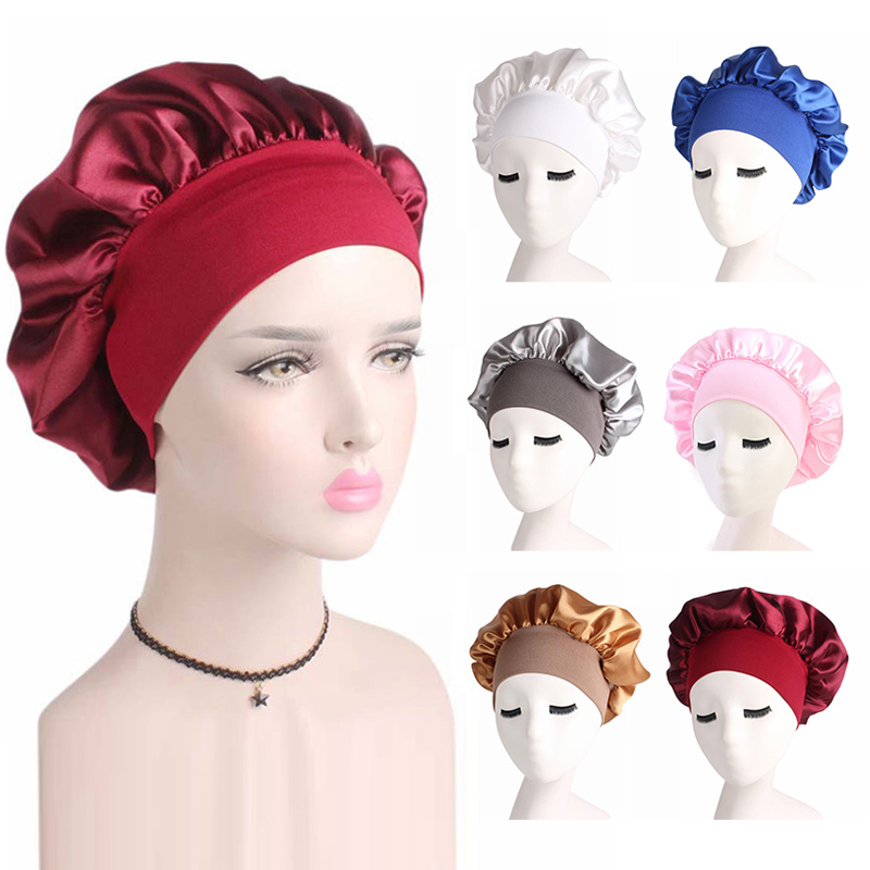 Satin Cloth Solid Wide-brimmed Sleeping Hat Reversible Adjustable Size Sleep Night Cap Hair Care Elastic Bonnet For Women Gifts