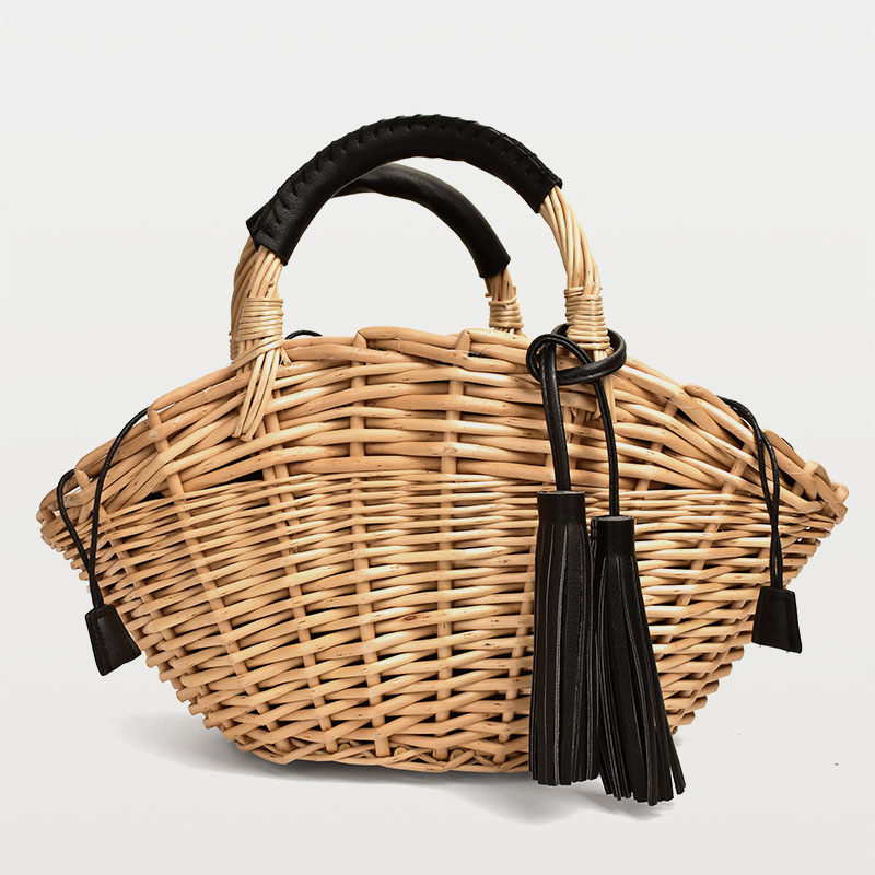 Wicker Handmade Straw Bag Women's Tassel Hand Basket Bag Straw Rattan Bag