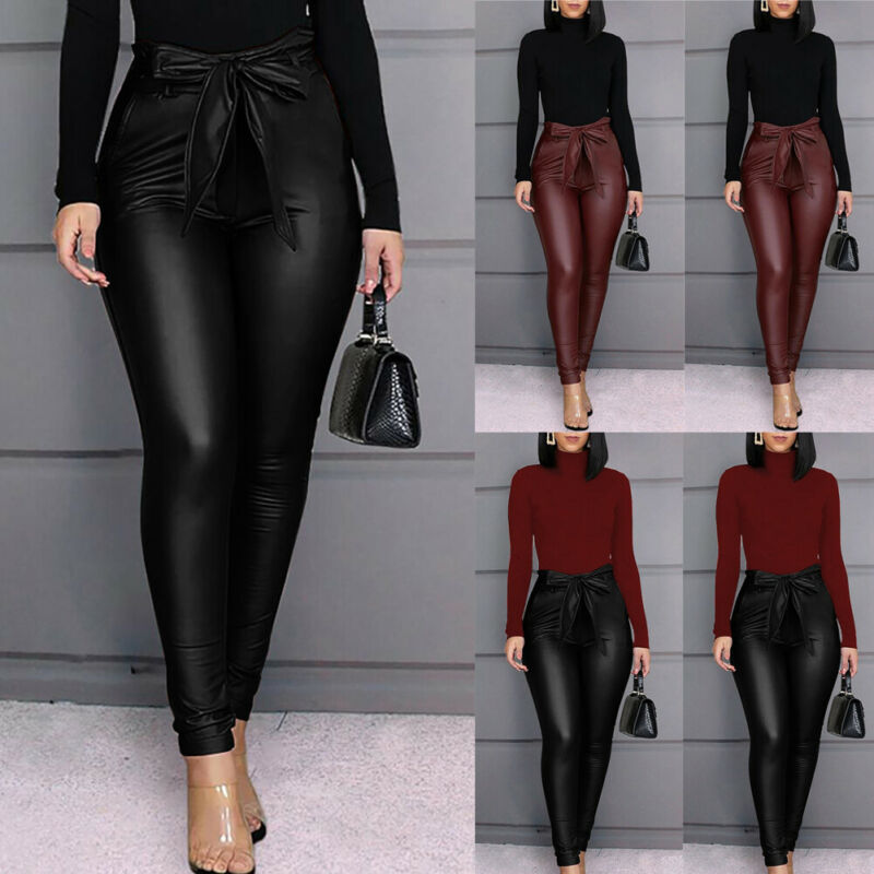 2020 New Sexy Women's Leggings PU Leather Pants Stretchy Skinny Pencil Trousers Ladies High Waisted Leggings