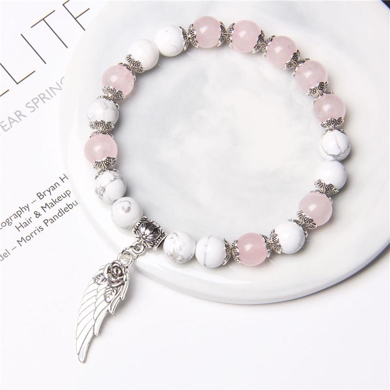 Pulsera colgante de ala de Ángel rosa de Color plateado hecha a mano, cuentas de cristal de cuarzo rosa Natural, pulsera de encanto para mujer, joyería romántica