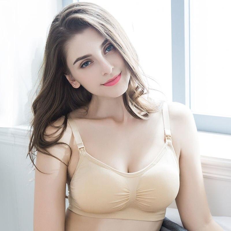 Plus Size Nursing Bra Breathable Pregnant Women Underwear Seamless Bra Hand Free Maternity Clothing Breastfeeding Baby Underwear