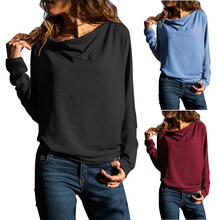 Autumn Winter Drape Casual Soft Loose Women T-shirt Solid Pullover Batwing Sleev