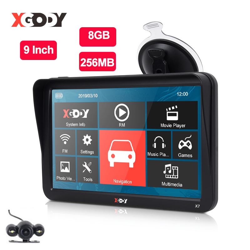 XGODY 9 ''voiture camion GPS Navigation 256MB + 8GB écran tactile Sat Nav Bluetooth en option carte gratuite russie Navitel Europe navigateur