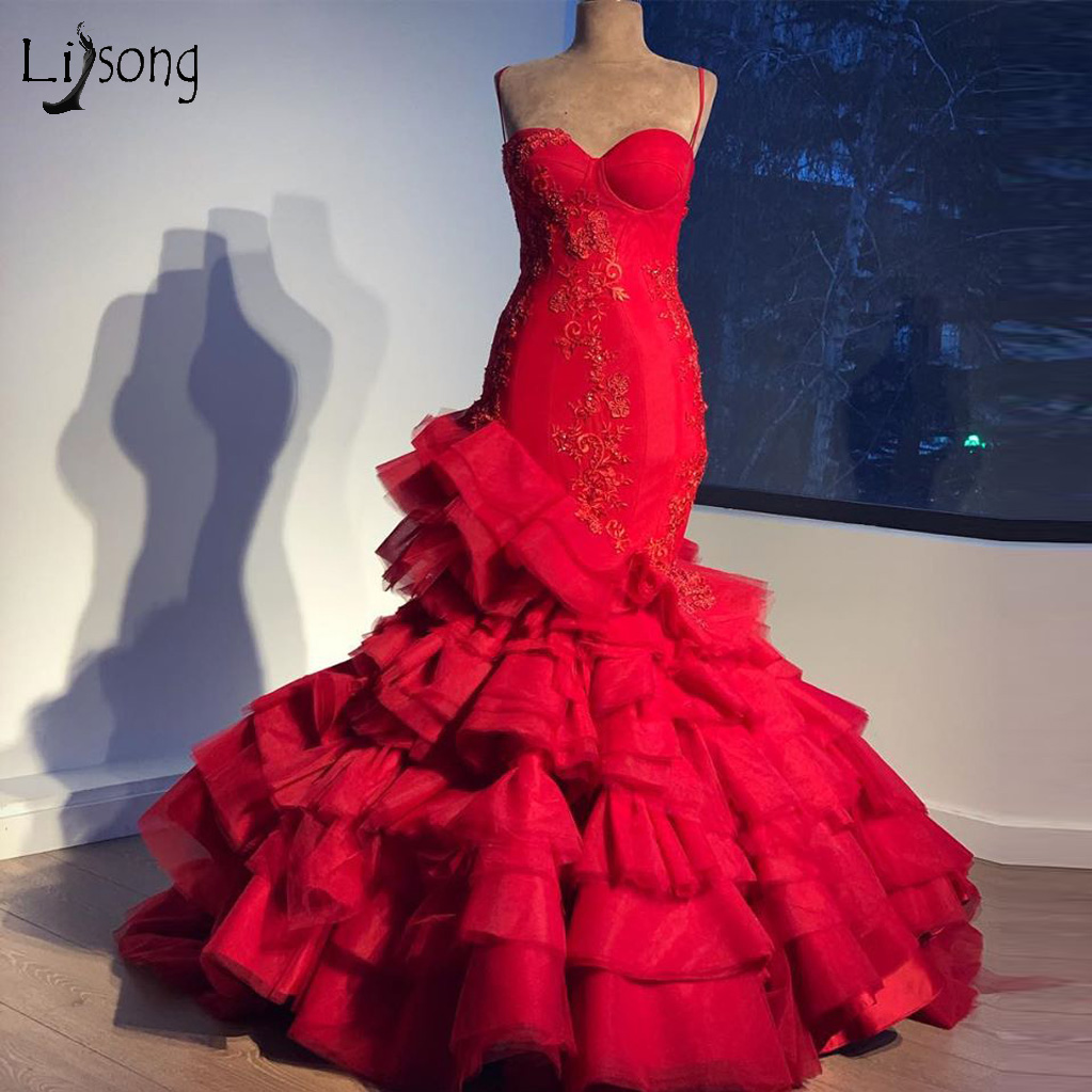 Rose Red Mermaid Wedding Dresses Real Image Ruffles Tiered Lace