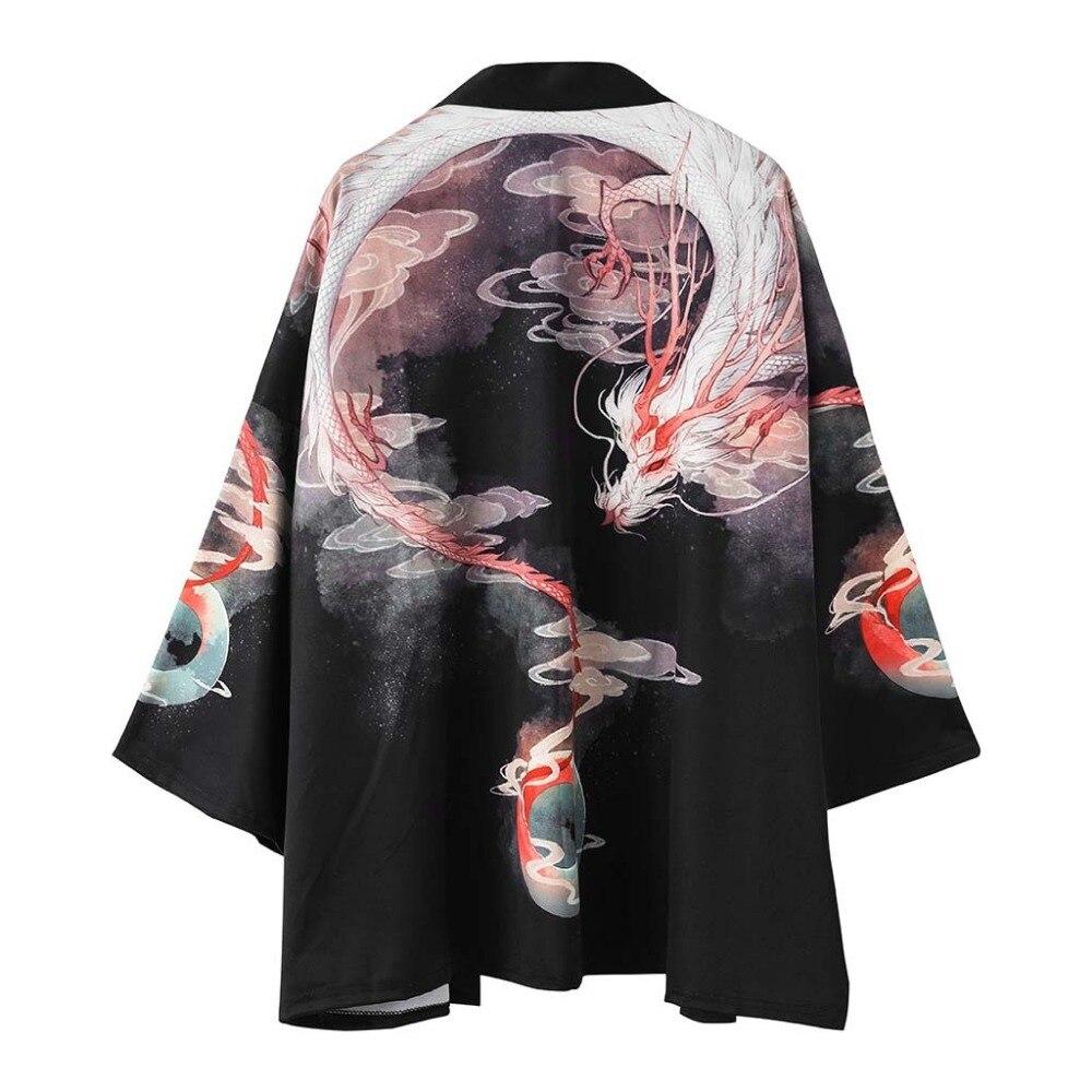 Samurai New  Japanese Style Kimono Haori Men Women Cardigan Chinese Dragon Traditional Japanese Yukatas Clothing Asian Clothes