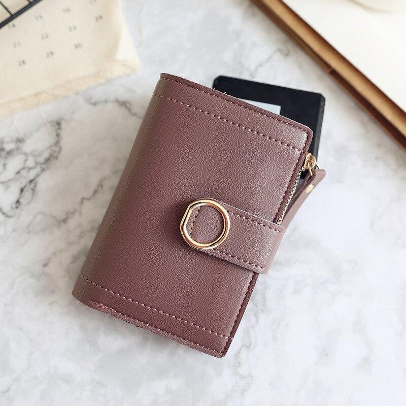 Женские кошельки, Маленький модный брендовый кожаный кошелек для женщин, женская сумка для карт, клатч, Женский кошелек, кошелек с зажимом для денег - Цвет: Violet