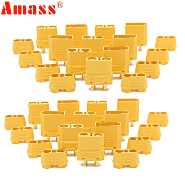 100 teile/los Amass XT90 XT90H Batterie Stecker Set 4,5mm Männlich Weiblich Vergoldete Bananen Stecker (50 paar)