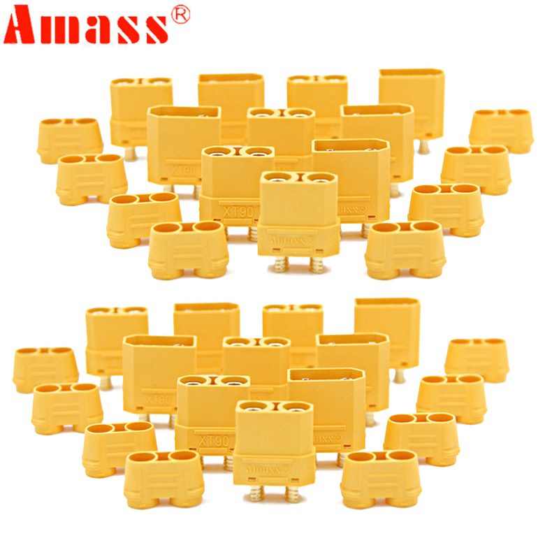 100pcs/lot Amass XT90 XT90H Battery Connector Set 4.5mm Male Female Gold Plated Banana Plug (50 Pair)