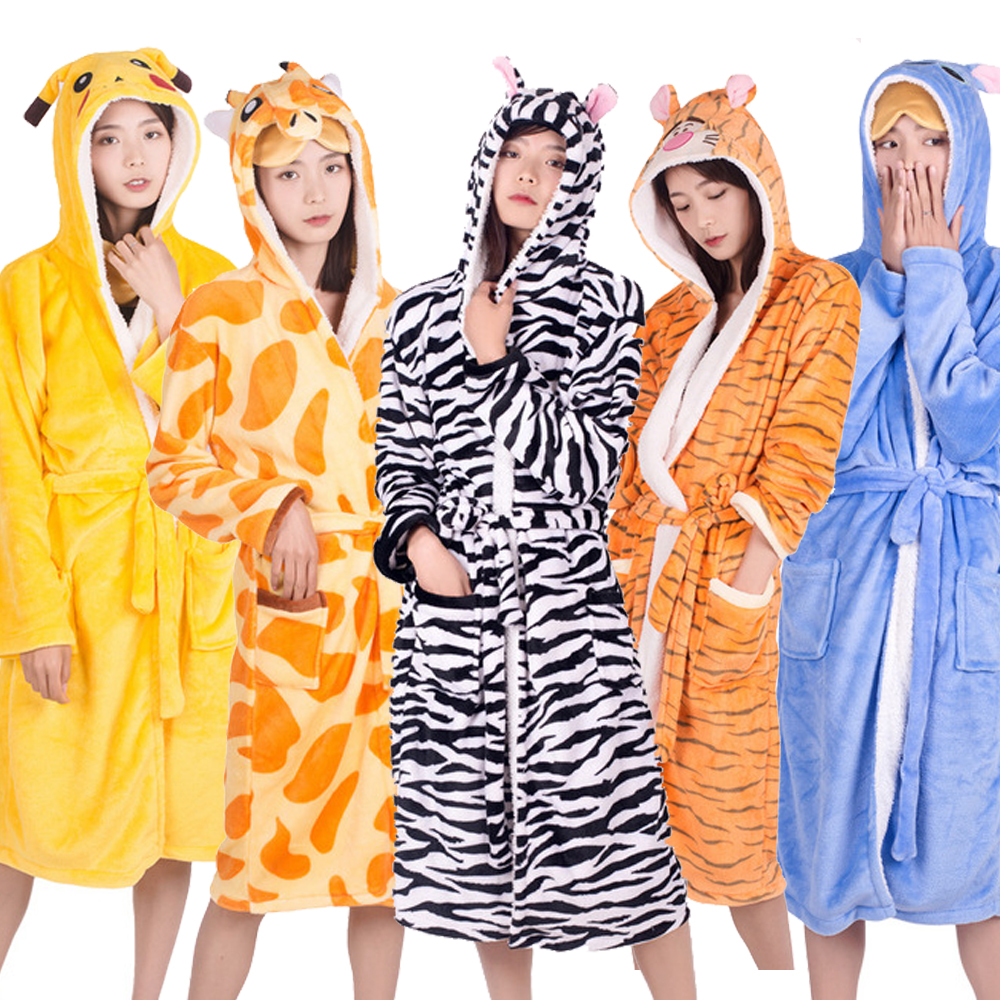 Unicorn Adults Animal Flannel Bath Robe Sleepwear Women Men Bathrobe Nightgown Robe Winter Unisex Panda Plush Kigurumi Pajamas