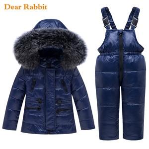 Image 2 - 2020 new Winter Baby Boy Girl clothing Set warm Down Jacket coat Snowsuit Children parka Kids Clothes Ski suit Overalls overcoat
