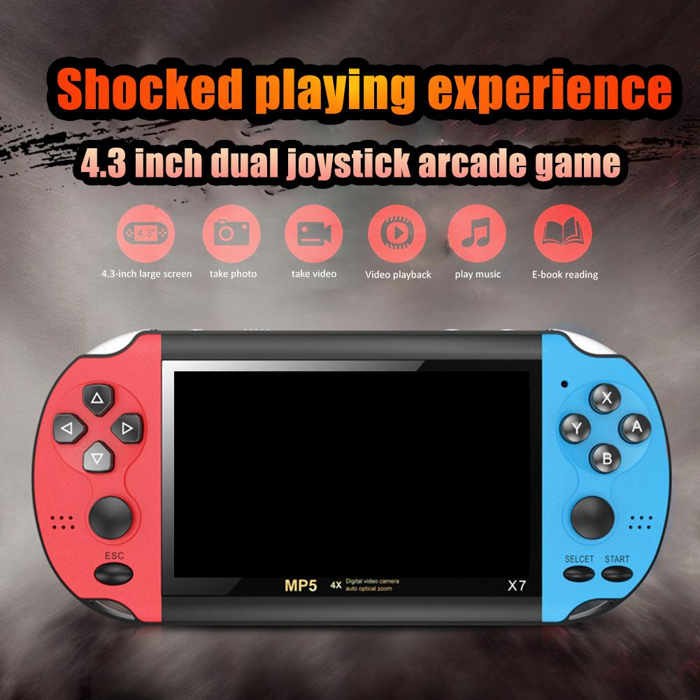 X7 Handheld Game <font><b>Console</b></font> <font><b>4.3</b></font> Inch Screen MP4 Player Video 3000 Games Retro Real 8GB Support For PSP Game Camera Video E-book image