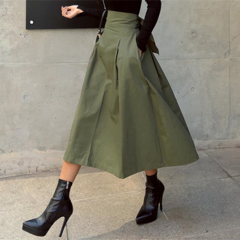 Hzirip 2020 New Arrival OL High Waist Skirts High Quality Ankle-Length Vintage Elegant Skirt For Women Army Green Long Skirts