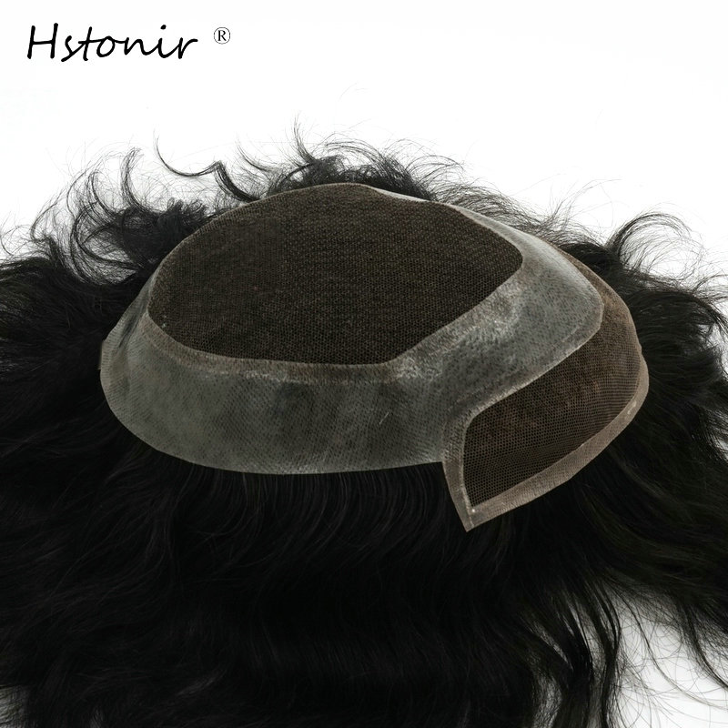 Hstonir Real Indian Remy Hair Men Straight Toupee Swiss Lace With Poly Hair Replacement System One Piece Wigs H040