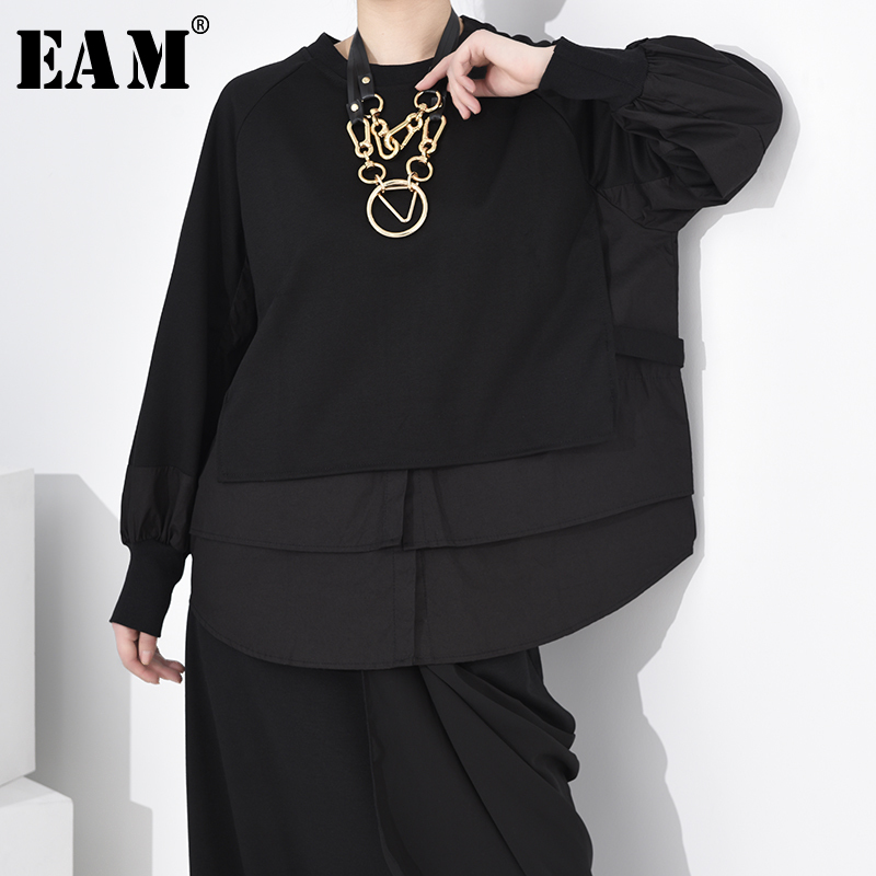 [EAM] Loose Fit Black Split Joint Hem Sweatshirt New Round Neck Long Sleeve Women Big Size Fashion Tide Spring 2020 1R85601