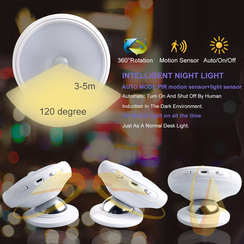 HOT Motion Sensor Night Light, Detachable Magnet Base, USB Rechargeable LED, Human Body Induction 360 Degree Rotation Night Ligh - 4