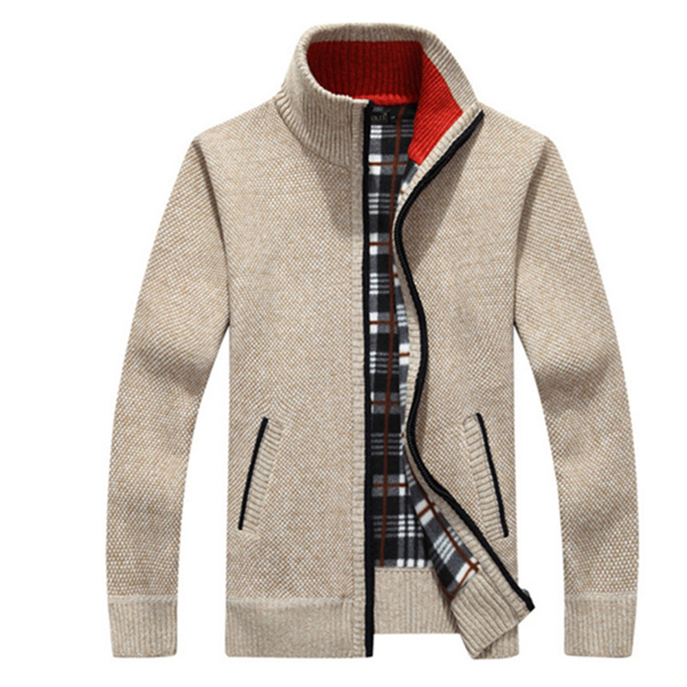Mens Fleece Sweaters Autumn Winter Warm Cashmere Sweater Coat Business Dress Wool Zipper Casual Sweater Men Knitted Sweatercoat