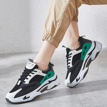 Breathable Fashion Sneakers Women Old Dad Shoes Lace Up Low Top Platform Women Shoes Patchwork Chunky Sneakers zapatillas pu patchwork lace up sneakers