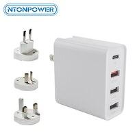 Ntonpower carregador universal para viagem  48w  carregamento rápido 3.0  para celular inteligente  tomada eu  para iphone e ipad