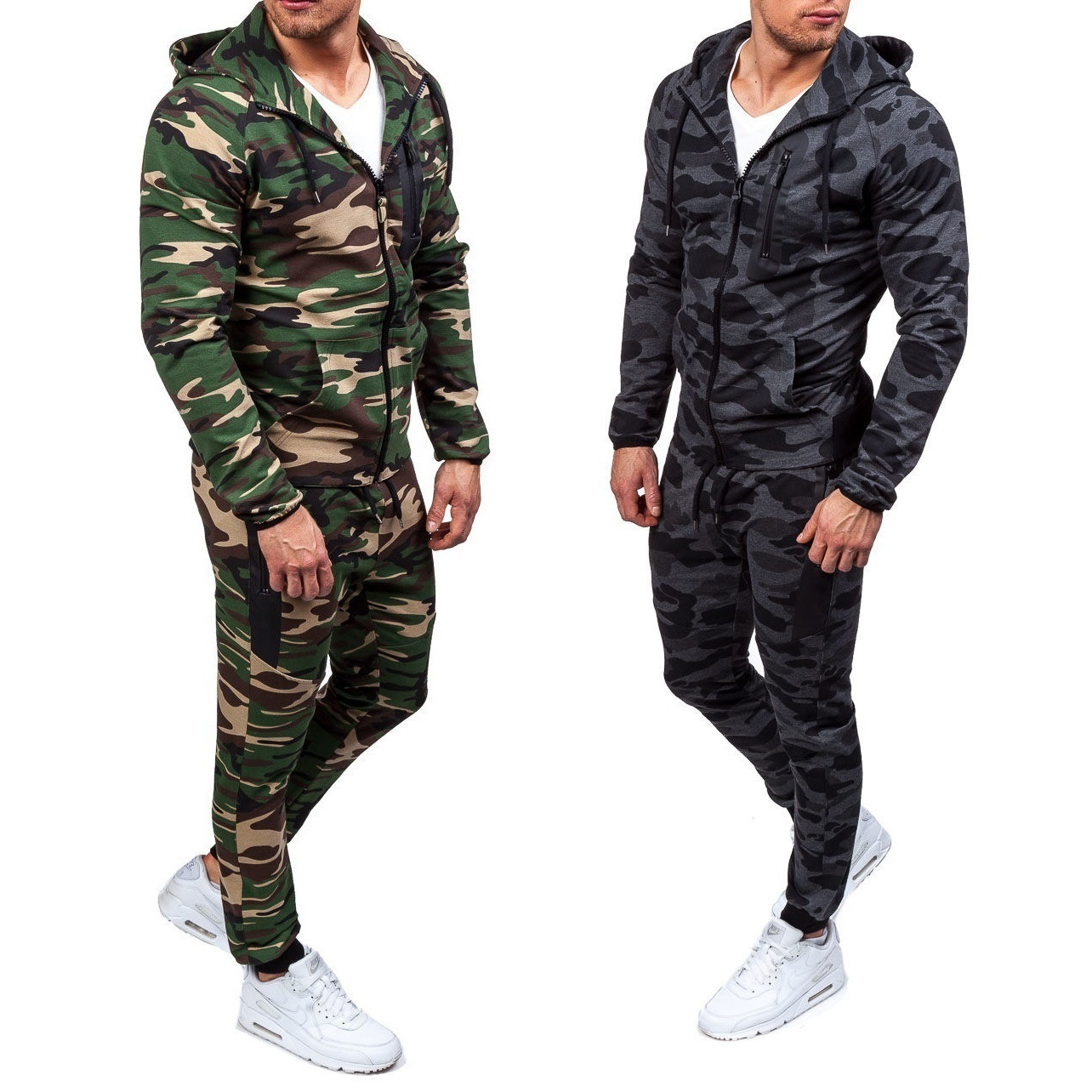 2019 Light Fashion Camouflage Men's Set Europe And America Hooded Large Size Hoodie Sports Set
