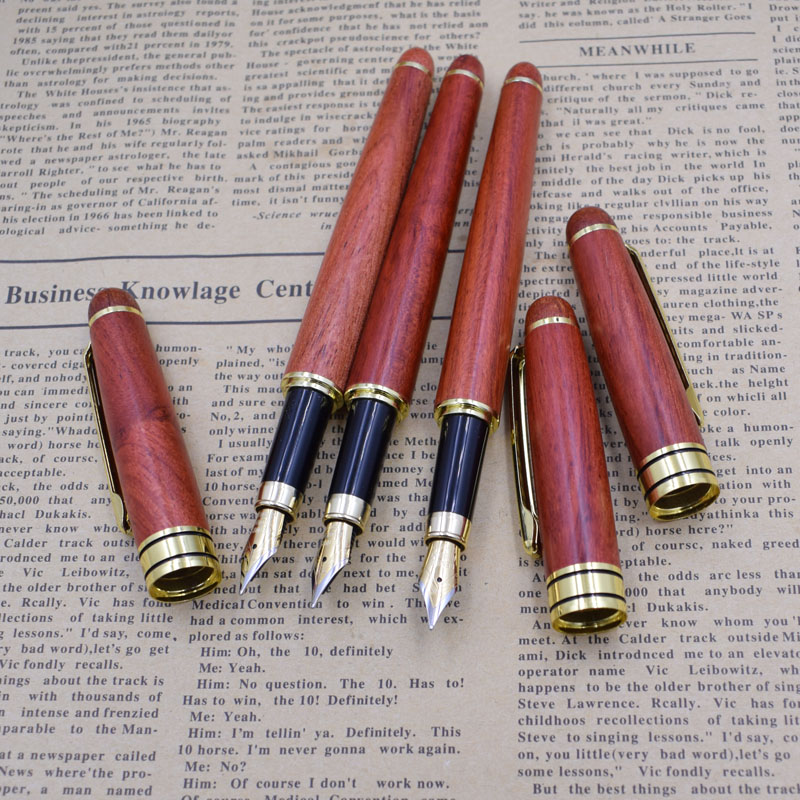 12 Pieces Lot High Quality Luxury Red Wood Fountain Pen Wholesale Office Ink 0 5 mm Nib Penna stilografica Joy Corner in Fountain Pens from Office School Supplies