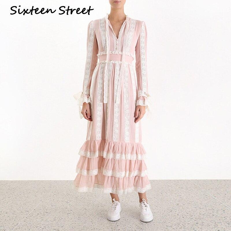 Женское кружевное платье макси в полоску, элегантное платье с длинным рукавом и высокой талией, весна осень 2019