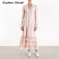 pink lace striped maxi dress for woman long sleeve high waist elegant sweet runway design dress 2019 autumn spring vestidos