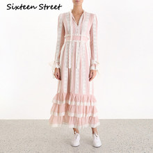 pink lace striped maxi dress for woman long-sleeve high waist elegant sweet runway design dress 2019 autumn spring vestidos(China)