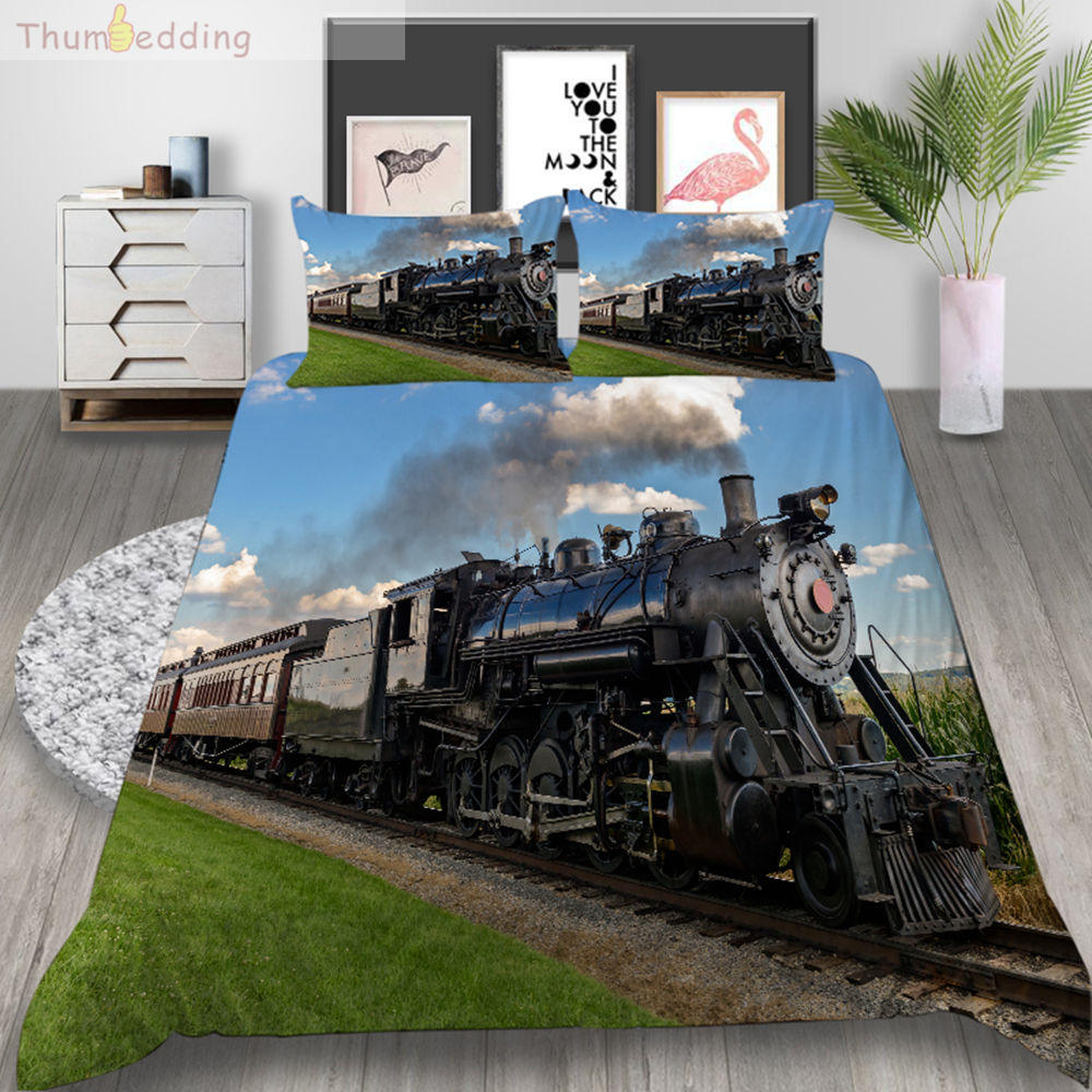 Thumbedding Train Bedding Set 3D King Size Duvet Cover Green Grass Queen Double Soft Material Bed Cover With Pillowcase