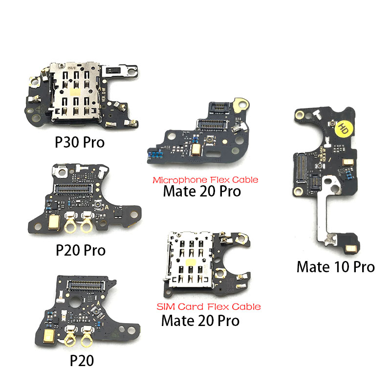 SIM/SD Card Reader Holder Conecction Board With Microphone Flex Cable  For Huawei Mate 10 20 P20 P30 Pro