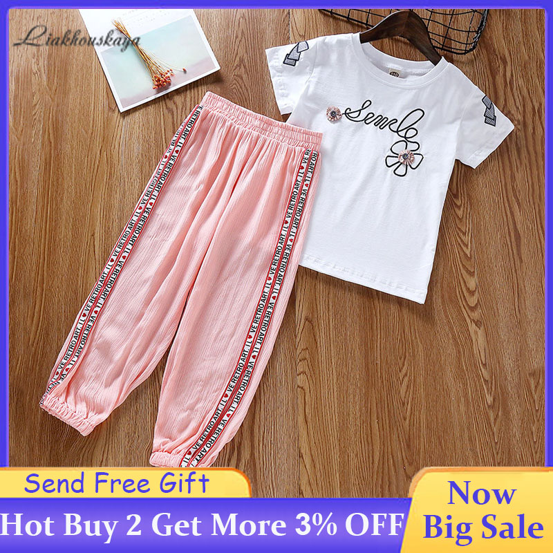2020 Summer Girls Clothing Sets Girls Fashion Cotton Print Short Sleeve T-Shirt+Printed Pants Suit Youth Casual Sportswear Suits