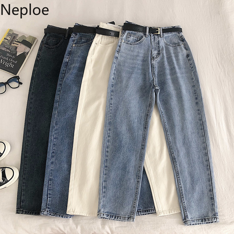 Neploe High Waist Hip With Belt Harem Pants Women Basic Casual Loose Pocket Denim Trouser Korean Solid Jeans Summer 81157
