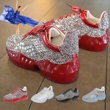 Net Sneakers Shoes Jelly-Sole Diamond Fashion Women's Casual Rhinestone Height-Increasing