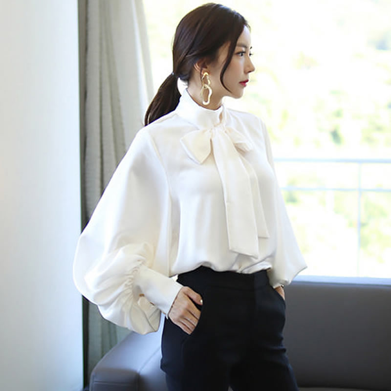 Vintage Plus Size Tops Amy Green Bow Long Lantern Sleeve Womens Fashions Office Work Elegant Loose Spring Autumn Blouse in Blouses amp Shirts from Women 39 s Clothing