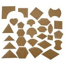54 Uds., plantillas de mosaico mixto reutilizables, herramienta de costura artesanal para Patchwork, Kit de acolchado, regla acrílica transparente