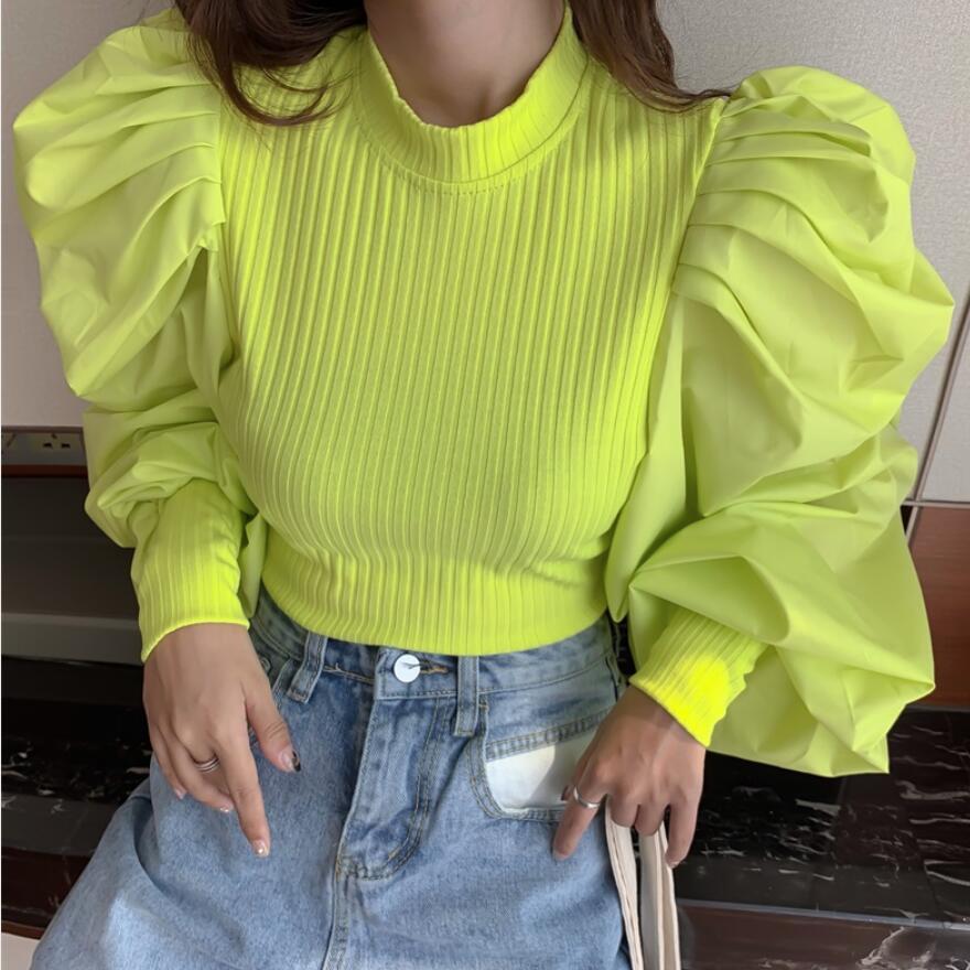 Bubble Lantern Sleeve Shirt Thread Fabric Comfortable Fashion Youth
