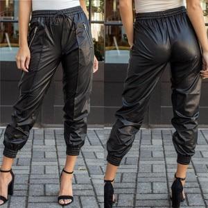 Women Black Pu Leather Pants Stretch Waist Drawstring Tie Pockets Female Autumn Winter Elegant Trousers Plus Size