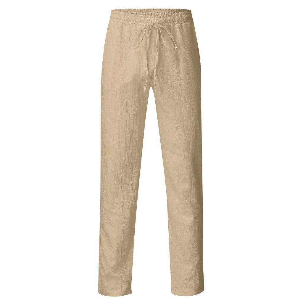 H47e4831d6ce0484dbd3f904311dda8c6g Feitong Fashion Cotton Linen Pants Men Casual Work Solid White Elastic Waist Streetwear Long Pants Trousers