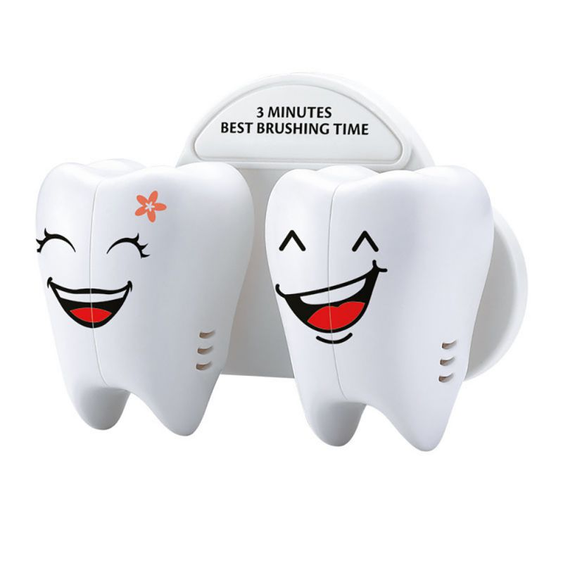 Teeth Style Toothbrush Holder Cartoon Toothbrush Stand Tooth Brush Shelf Bracket Container Bathroom Accessories Set image