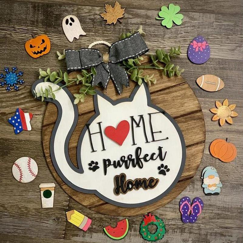 Door Hanger Seasonal Welcome Wreath Sign With Interchangeable Holiday Pieces For Farmhouse Front Door Hanger Porch Decoration
