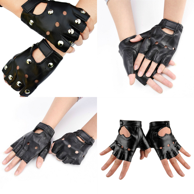 PU Leather Gloves Punk Hip-hop Half-finger Round Tactical Gloves Without Fingers Nail Glove 1