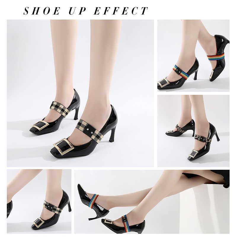 1 คู่รองเท้าส้นสูงเชือกผูกรองเท้ายืดหยุ่นสำหรับส้นรองเท้า Shoelaces ใหม่แฟชั่นไม่มี Tie Lazy Laces หัวเข็มขัด Novelty Shoelaces