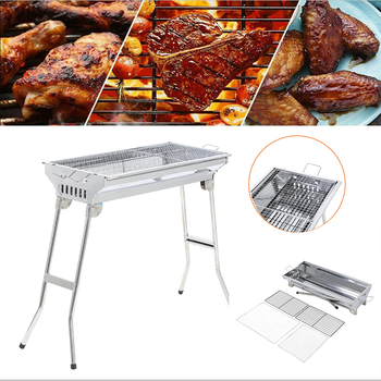 Honhill Fold Barbecue Grill For Outdoor Charcoal Stainless Steel BBQ Patio Grill Stove Shish Kebab Patio BBQ Camping Picnic foldable bbq grill outdoor camping picnic cooking grill portable stainless steel charcoal grilling stove barbecue accessory tool