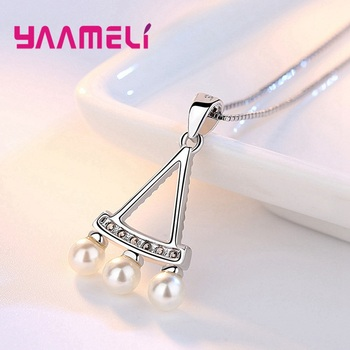 Women Fine 925 Sterling Silver Crystal Pearl Pendant Necklaces for Wedding Engagement Anniversary Gifts Fashion Accessory 2