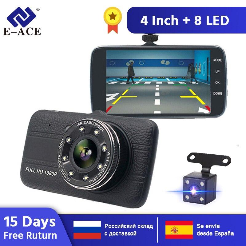 """E-ACE voiture Dvr caméra 4.0 """"Full HD 1080P Dash Cam Auto registrateur double lentille Vision nocturne avec caméra de vue arrière enregistreur vidéo"""